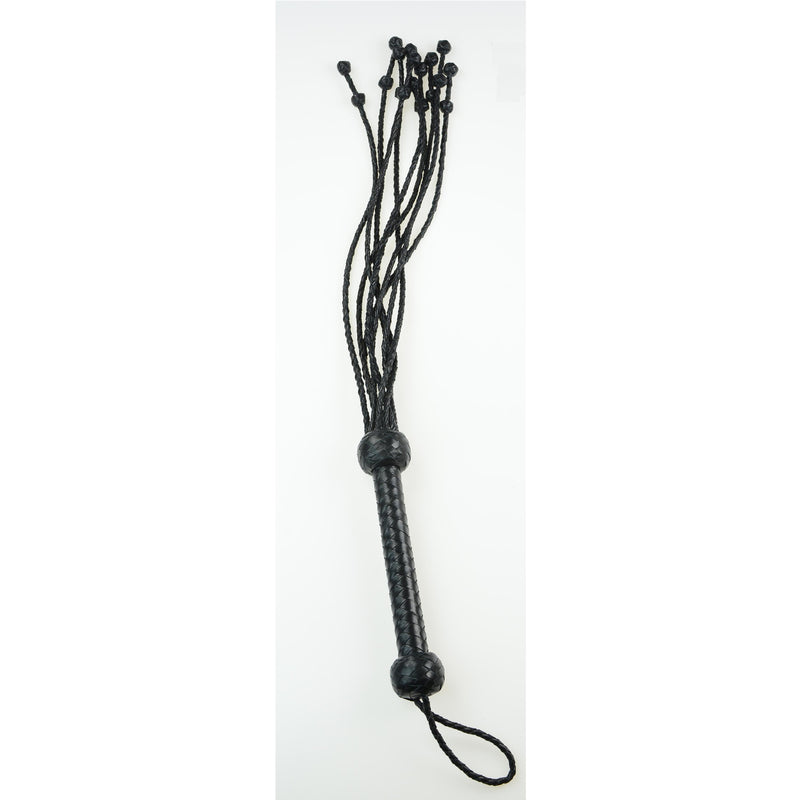 "Whip - Leather 32"" Braided Cat o' Nine Tails with Ball End Knots Black Flogger-Fetish/Bondage-The Love Zone"