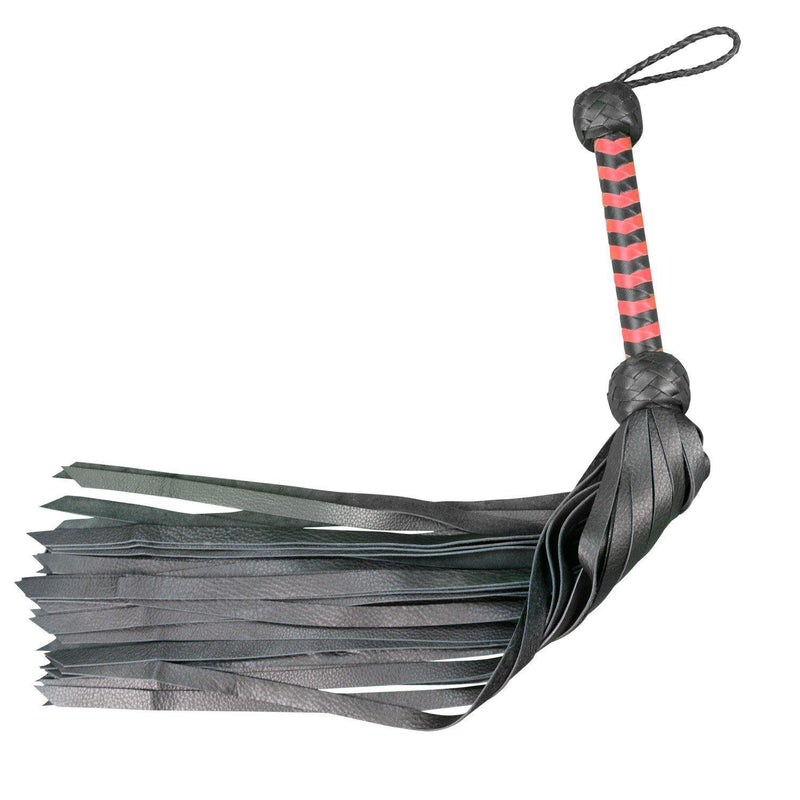 "Whip - Leather 28"" Softy Calf 36 Tail Flogger Black-FET-The Love Zone"