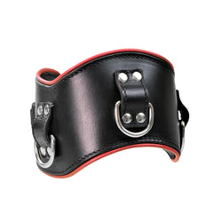 "Collar - Posture Collar 3"" Heavy Duty Leather Padded - Black with Red Piping-FET-The Love Zone"