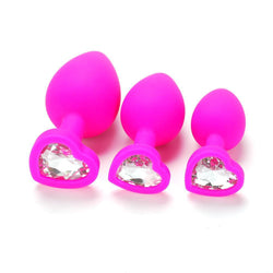 Butt Plug - Pink Silicone Heart Anal Plug - Clear Gem-Anal-The Love Zone