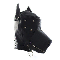 Hood Mask - Dog Hood Lace-Up Deprivation Mask Zipper Mouth-Fetish/Bondage-The Love Zone