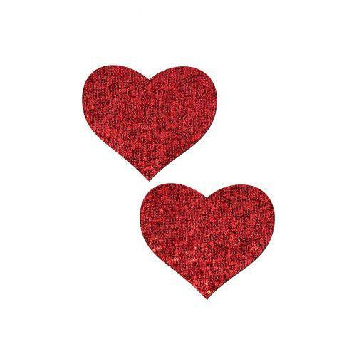 Pasties Glitter Heart 5pk Nipple covers Red-ACCES-The Love Zone