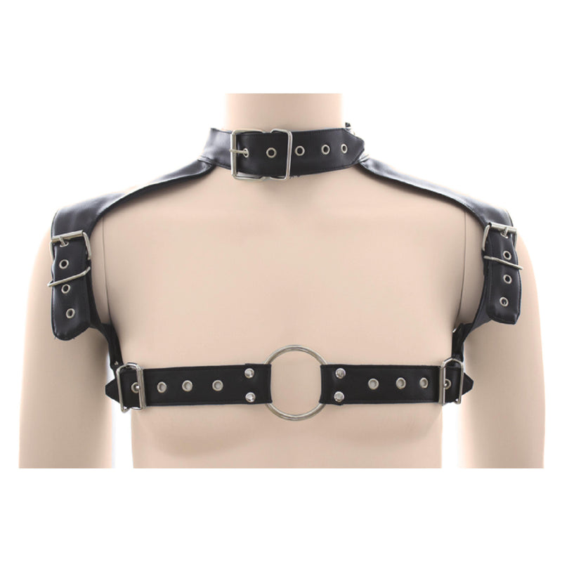 Chest Harness - Shoulder & Collar PVC Vegan Leather-Fetish/Bondage-The Love Zone