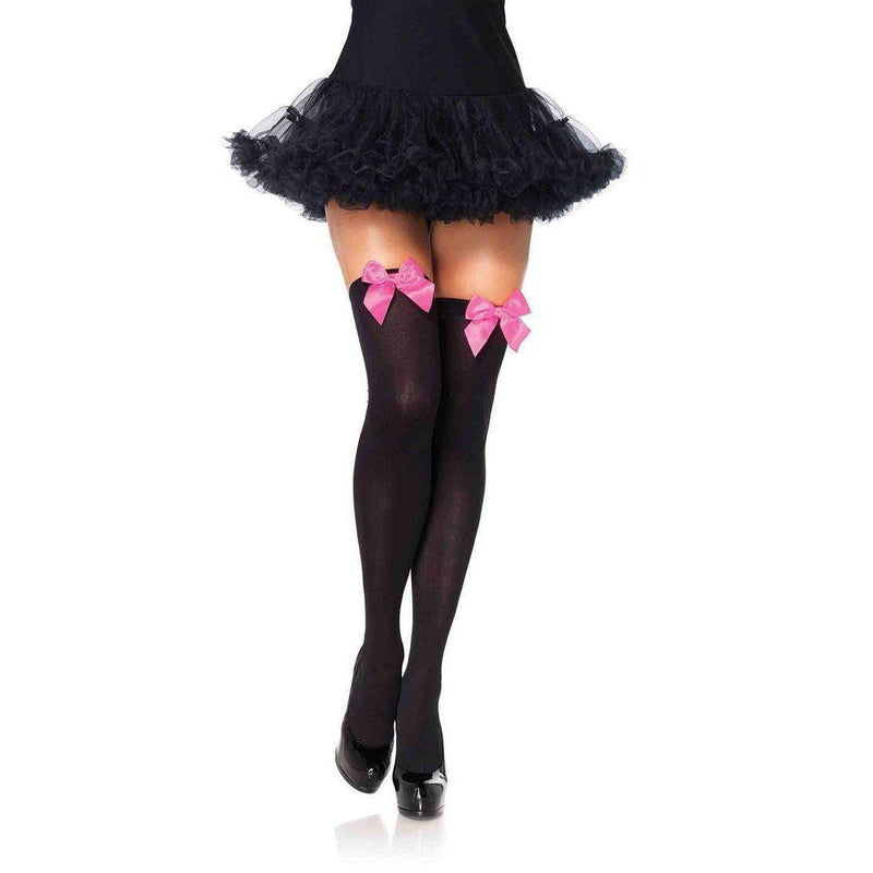 Stockings - Black with Neon Pink Satin Bow Over the Knee-STOCK-The Love Zone