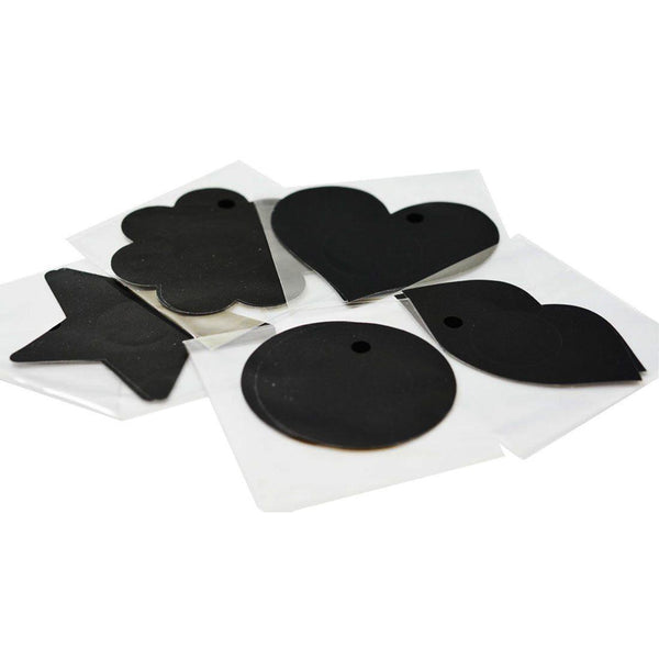 Pasties Black Satin Assorted Shapes Nipple Covers 5 Pair-ACCES-The Love Zone