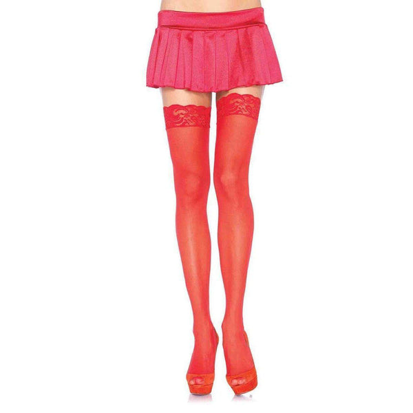 Stockings - Sheer Lace Top Thigh High O/S Red-STOCK-The Love Zone