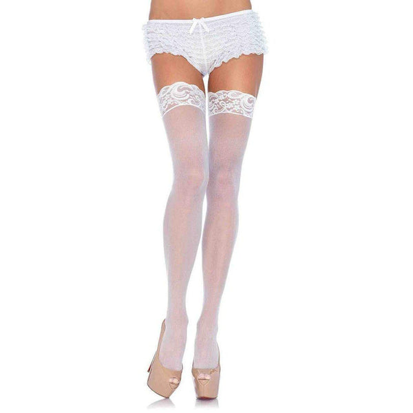 Stockings - Sheer Lace Top Thigh High O/S White-STOCK-The Love Zone