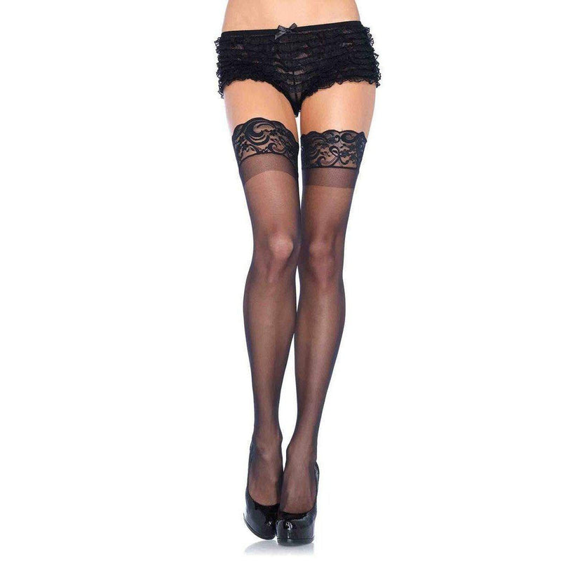 Stockings - Stay Up Spandex Thigh High Queen Black-STOCK-The Love Zone