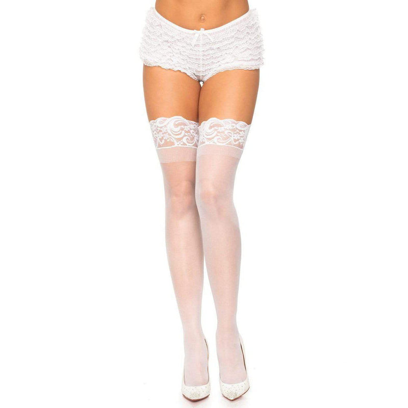 Stockings - StayUp Thigh High White Queen-STOCK-The Love Zone