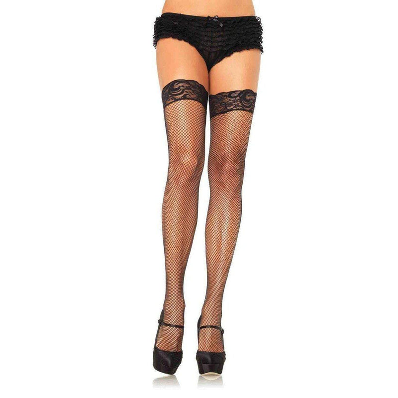 Stockings - Stay Up Spandex Fishnet Thigh High Queen Black-STOCK-The Love Zone