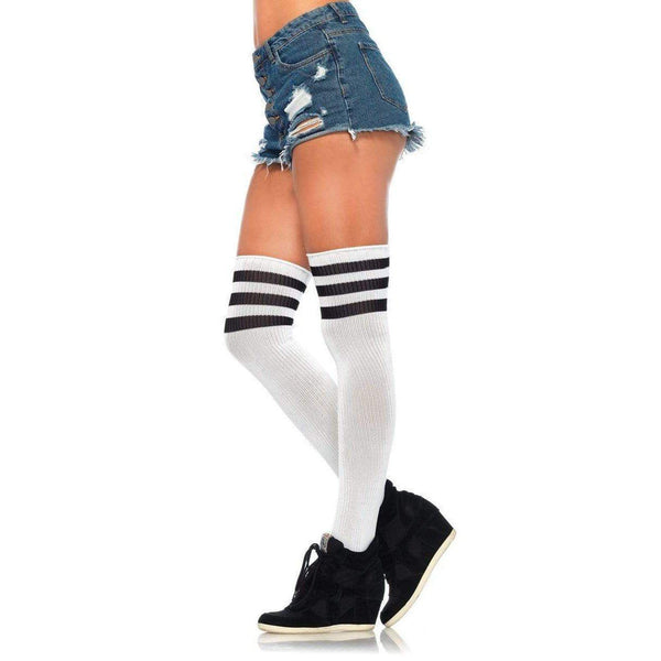 Wht Athlete thi-hi w/3 Stripe-Stockings-The Love Zone