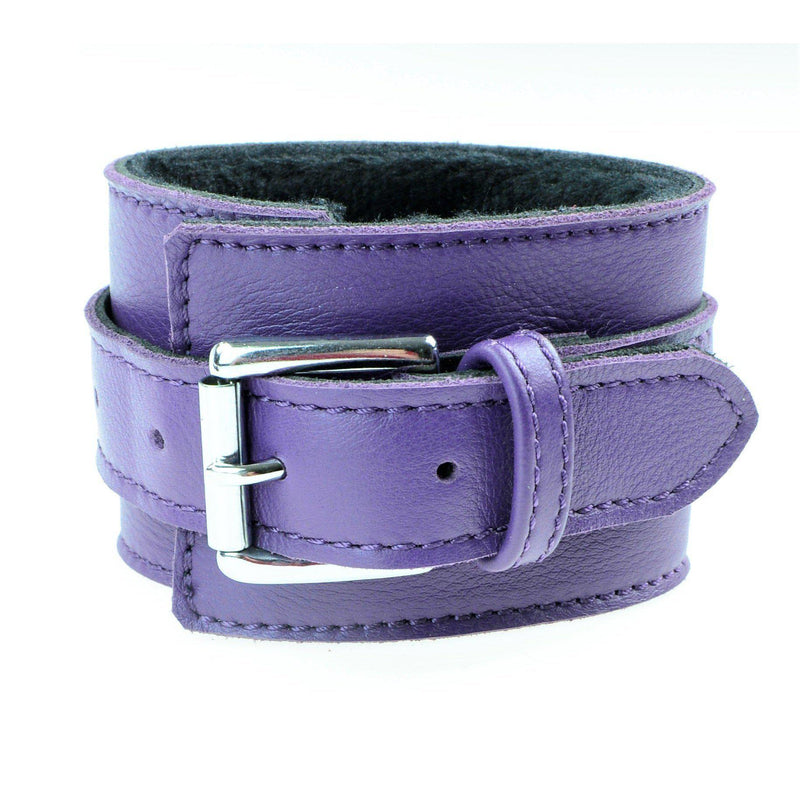 Cuff Wrist - Purple Genuine Leather with Shaved Faux Fur Lining Bondage Handcuff-FBOND-The Love Zone