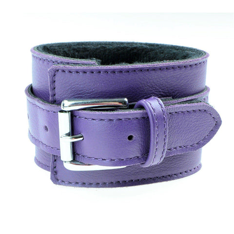 Cuff Purple Genuine Leather with shaved Faux Fur Lining Wrist Bondage Cuff