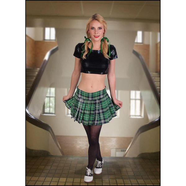 School-Girl Style Full-Pleated Plaid Mini-Skirt-Lingerie-The Love Zone