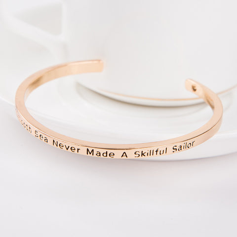A Smooth Sea Never Made A Skillful Sailor Cuff Bangle - Florence Scovel - 5