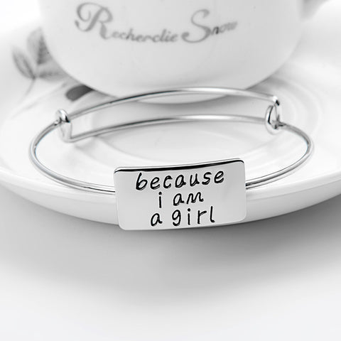 Because I am A Girl Adjustable Bangle - Ashley Jewels - 1