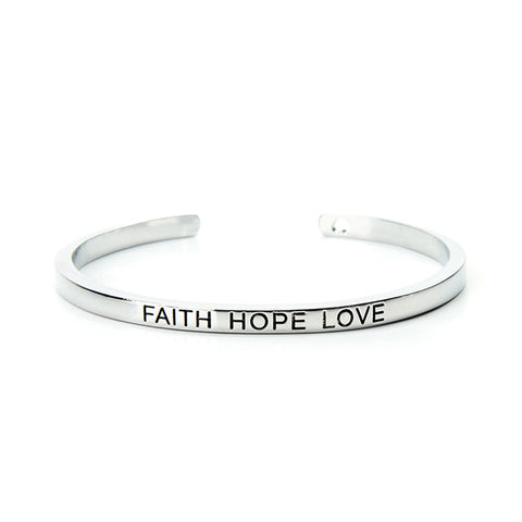 Faith Hope Love Cuff Bangle