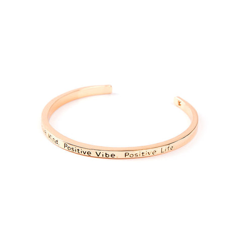 Positive Mind Positive Vibe Positive Life Cuff Bangle - Florence Scovel - 2