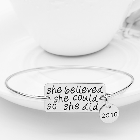 She Believed She Could So She Did Bangle - Inspirational Bangle For Women