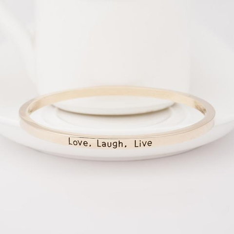Love Laugh Live Engraved Bangle - Florence Scovel - 3