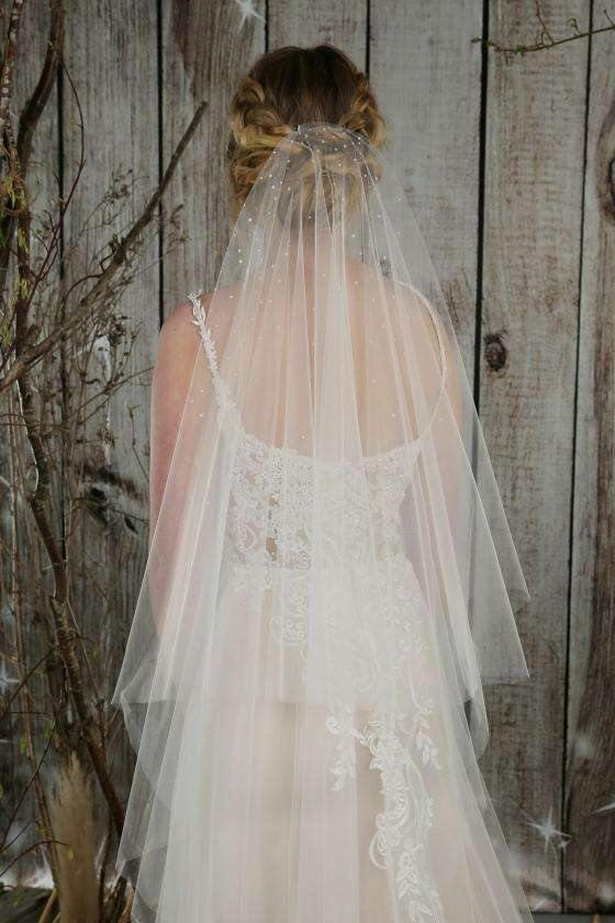 "AMIE - PEARL RAINFALL VEIL - 72"" - Adore Bridal and Occasion Wear"