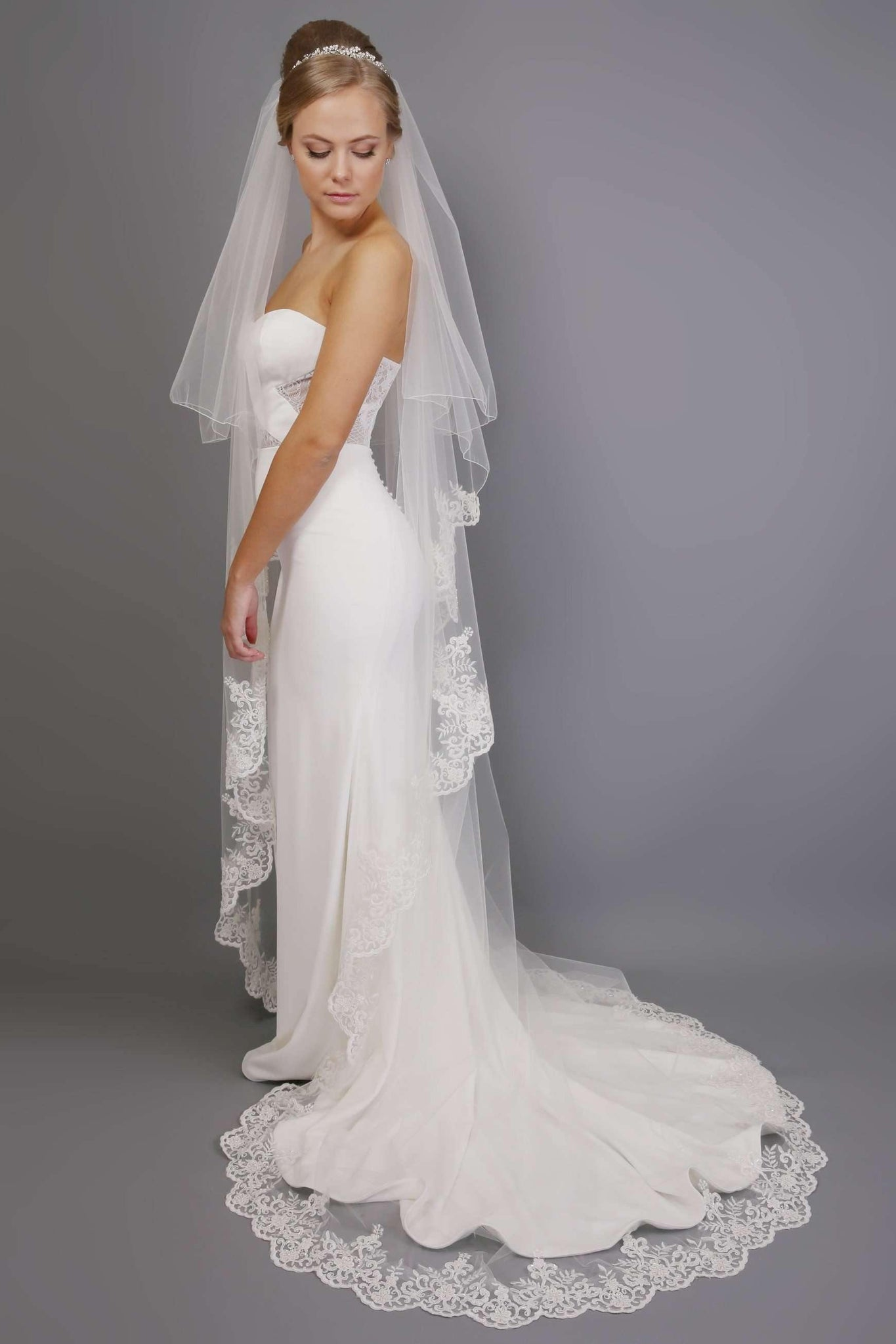 "SIAN - BEADED LACE VEIL - 126"" - Adore Bridal and Occasion Wear"