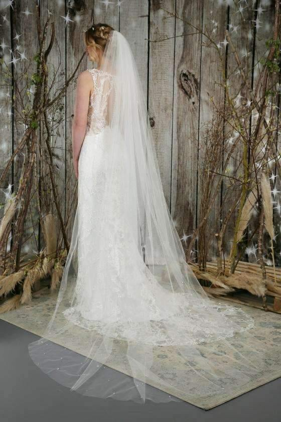 "LENA  - GENUINE PEARL SCATTER  VEIL - 98"" - Adore Bridal and Occasion Wear"