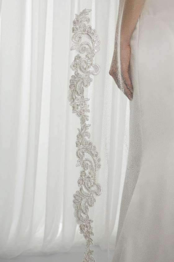 "MACY  - BEADED LACE APPLIQUE VEIL - 98"" - Adore Bridal and Occasion Wear"