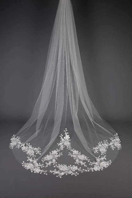 "TONI  - SPARKLING FLORAL LACE TRAIN VEIL - 98"" - Adore Bridal and Occasion Wear"