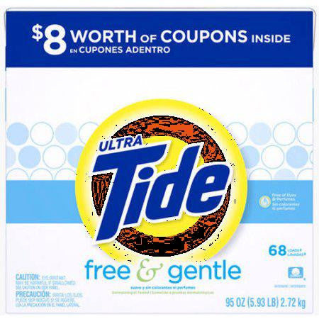 Tide Ultra Free and Gentle Powder Laundry Detergent, 68 Loads 95 oz