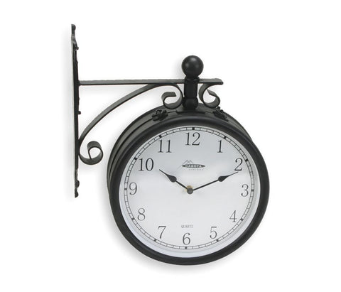 "11-5/8"" 12-1/4"" x 15-1/8"" Round Arabic Wall Clock, Black Metal Frame"