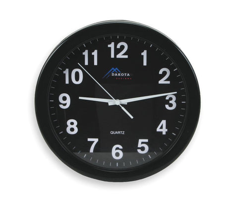 Analog Clock, 10-1/4 In, Black