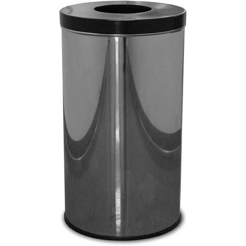 35 Gallon Steel Receptacle w/Single Opening Flat Top, Chrome - 35FTPM