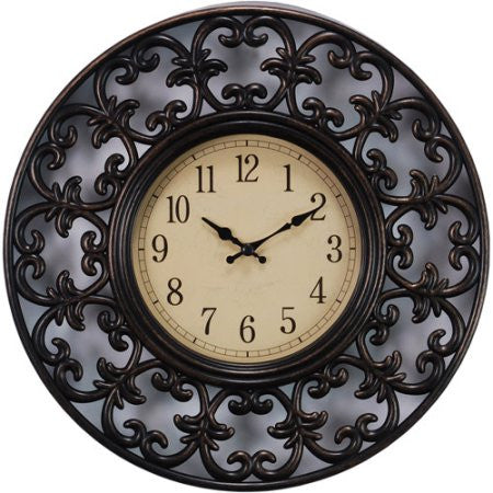 "Kiera Grace Decorative Lattice Design 11"" Wall Clock with Antique Bronze Finish"