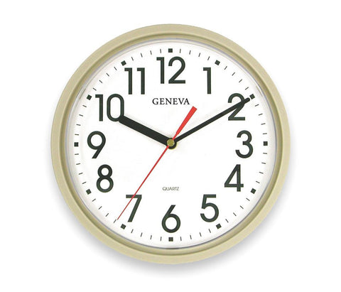 Analog Clock, 9-1/2 In, Putty