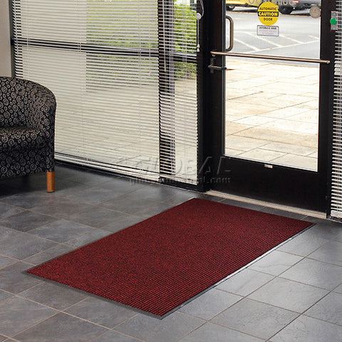 3 Foot Wide Roll Entrance Mat Red  Deep Cleaning Ribbed
