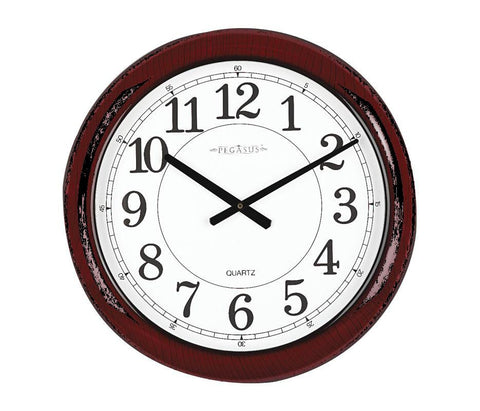 Analog Clock, 24 In, Burgundy