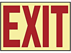 """Exit"" Glow In the Dark Adhesive Backed Sign"