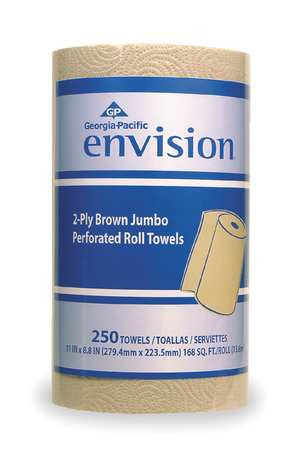 "Brown Paper Towels Roll 11""W x 230'L, 12 Rolls"