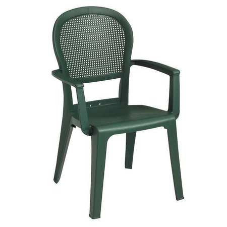 Armchair, Open Mesh, Metal Green