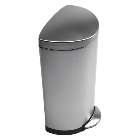 simplehuman® Semi-Round Step Trash Can-Brushed Stainless Steel