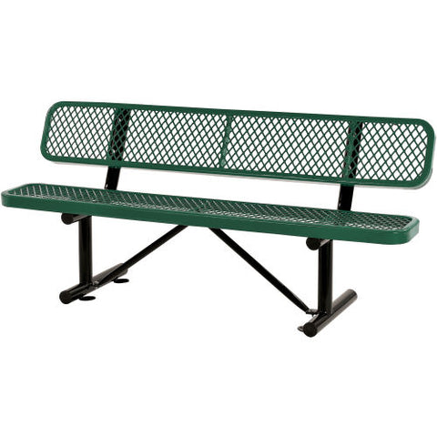 6 ft. Outdoor Steel Bench with Backrest - Expanded Metal - green