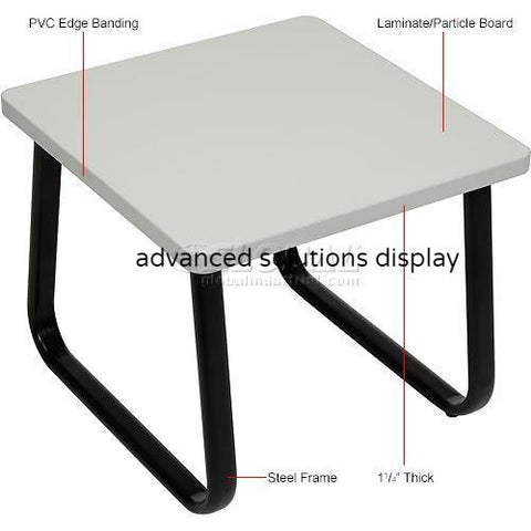 "Square Coffee Table 20"" x 20"" Gray Top"