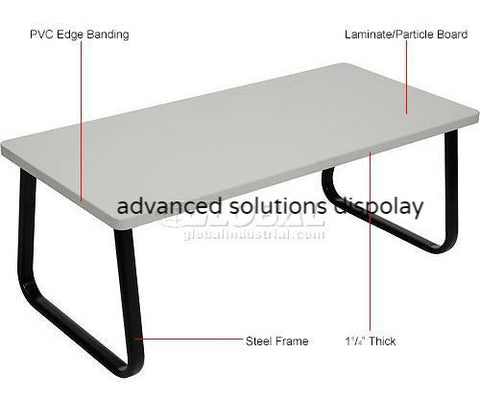 "Rectangle Coffee Table 43"" x 20"" Gray Top"