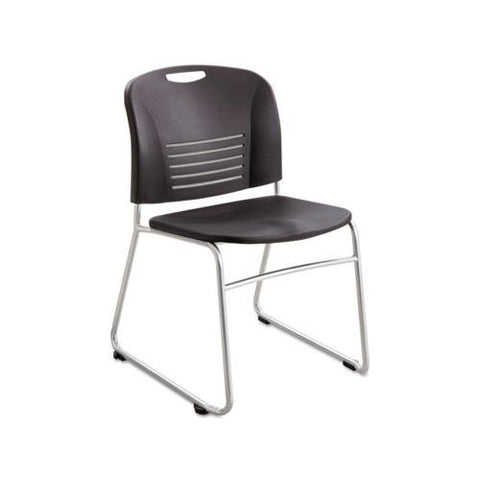 Safco Vy Series Stack Chairs Plastic Back/Seat, Sled Base, Black, 2/Carton
