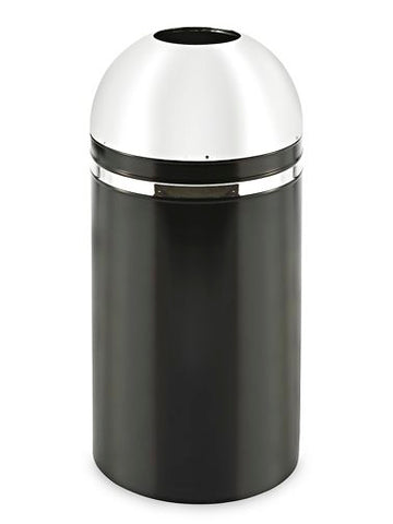 Domed Open Top Receptacle - 15 Gallon, Chrome