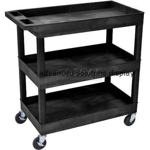 Luxor® EC111 E-Series Black 3-Shelf Tub Cart 35-1/4 x 18 400 Lb. Cap.