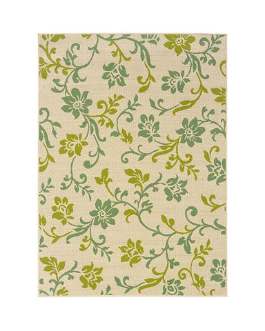 FLOWERS AND LEAVES OUTDOOR RUGS  Beige