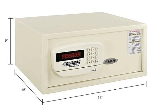 "Global Personal Hotel Safe Electronic Lock w/Card Slot 18""W x 15""D x 9""H Keyed Differently, White"