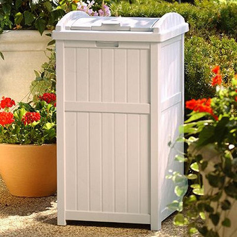 1 Suncast Trash Hideaway Plastic 33 Gallon Outdoor Trash Can